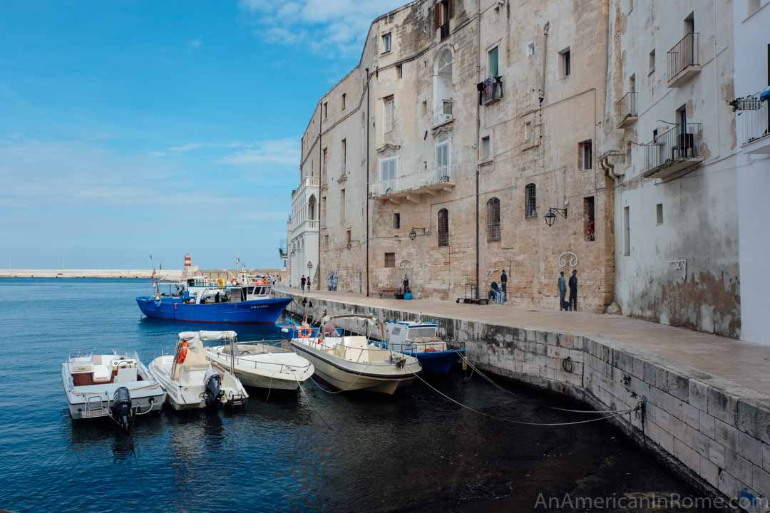 small boats in the port in Monopoli Italy