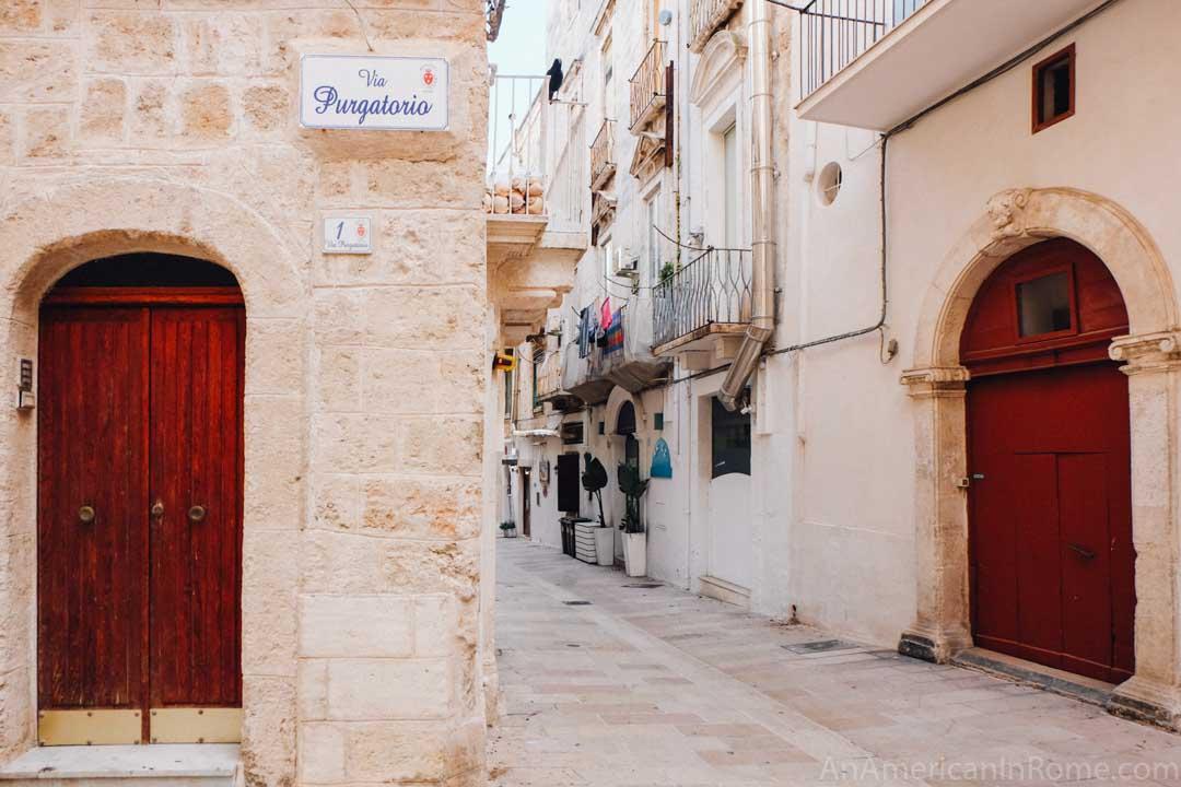 small street in Monopoli Puglia