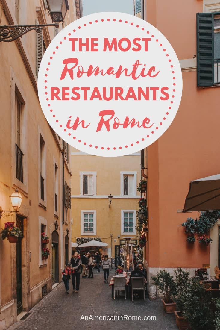 where to find the best romantic restaurants in Rome on photo looking down a Rome street with outdoor tables