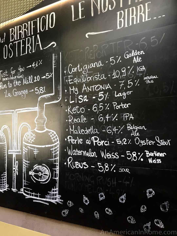 tap list birra del borgo on chalkboard