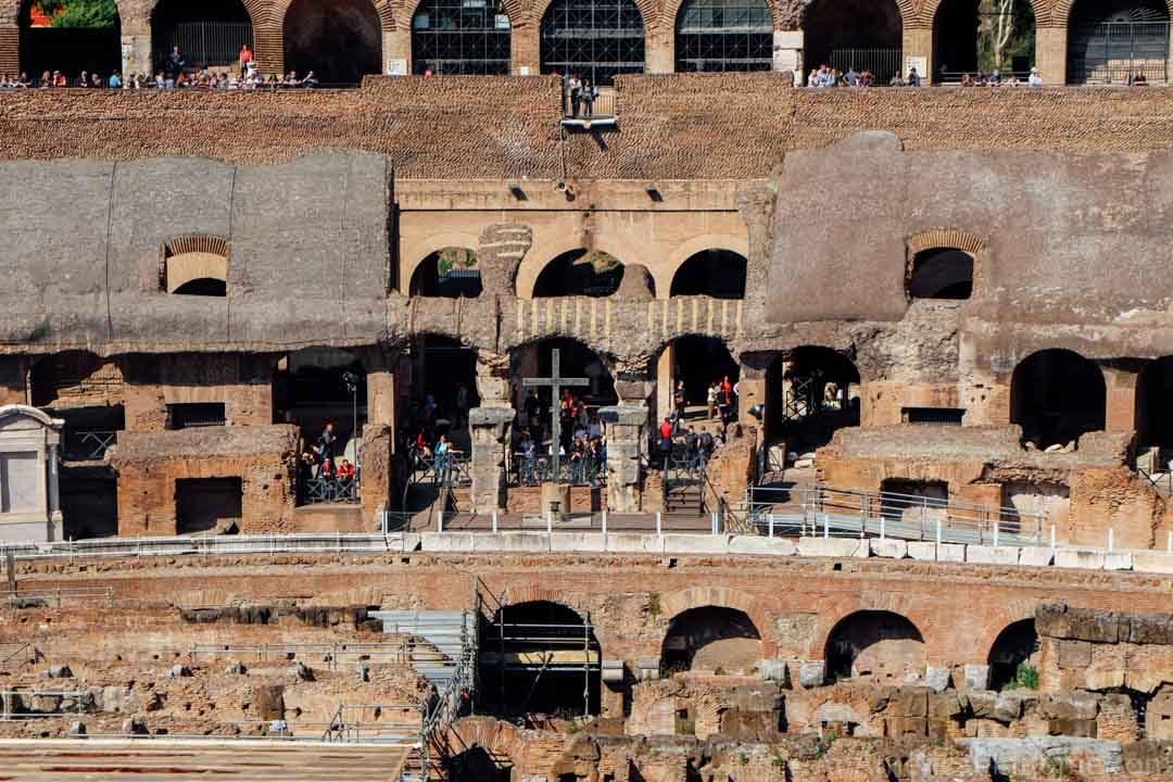 cross inside the colosseum