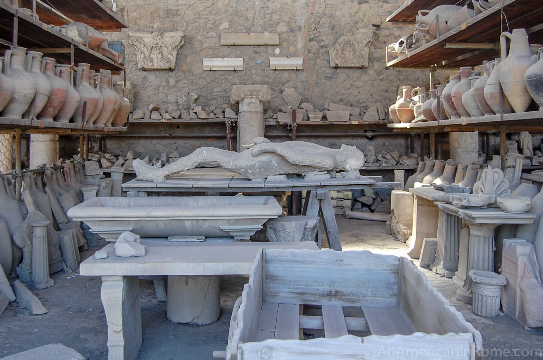 cast of a body buried by ash at Pompeii Italy