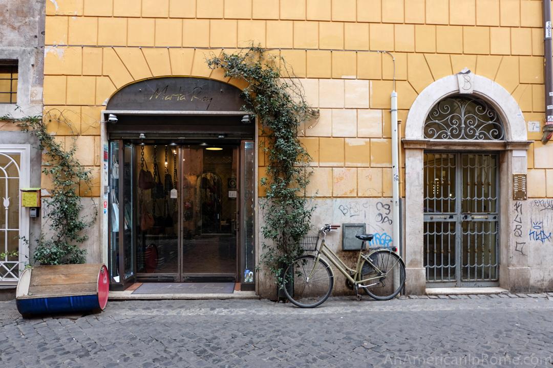 outside of Marta Ray store in Trastevere