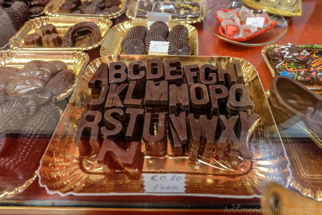 chocolate letters handmade at Moriondo e Gariglio