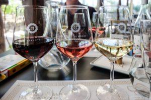 bosco de medici wine in three glasses