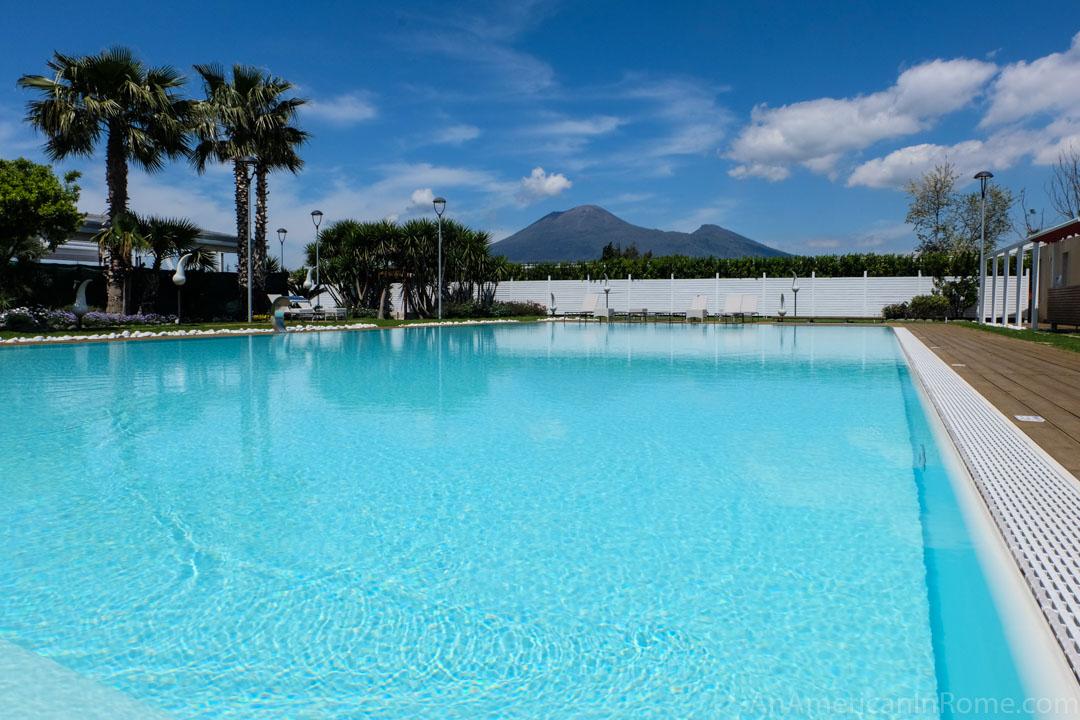 pool at Bosco de Medici with Vesuvius in the back