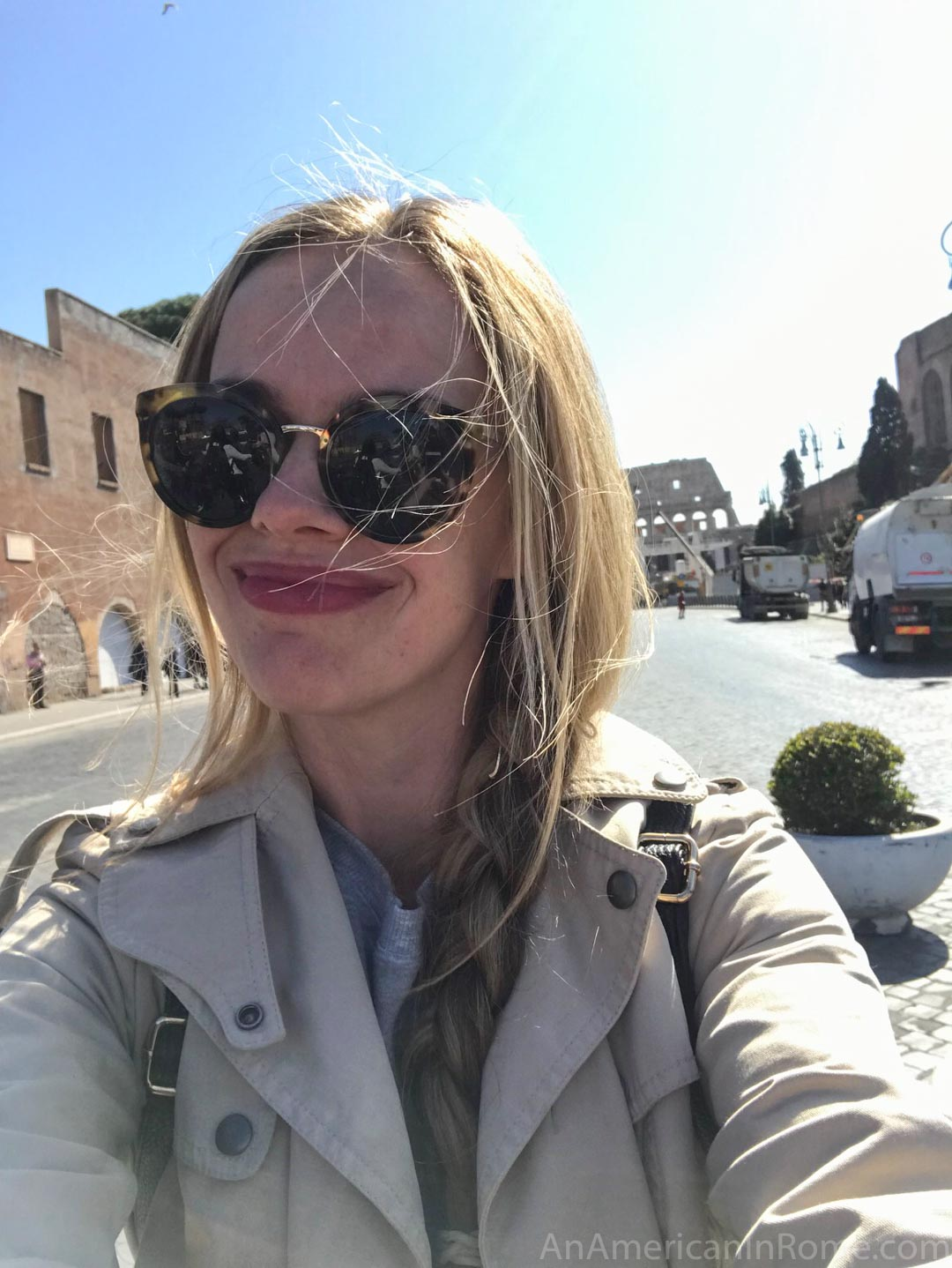 Smiling woman selfie in sunglasses