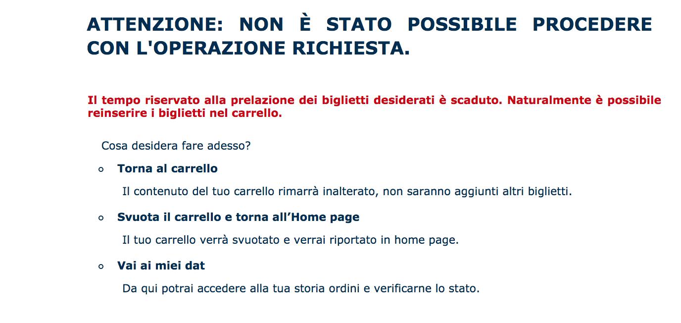 error message in Italian from museum website