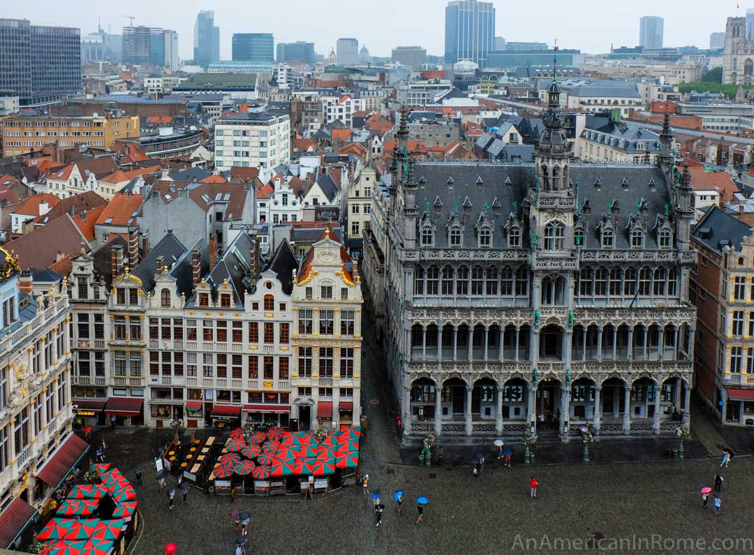grote markt buildings from tower in brussels