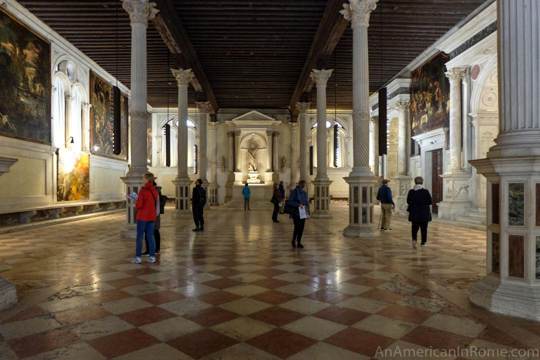 ground floor with pillars and art work