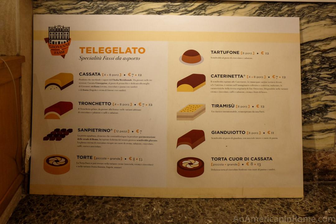gelato menu Fassi