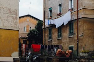 laundry hanging outside rome building