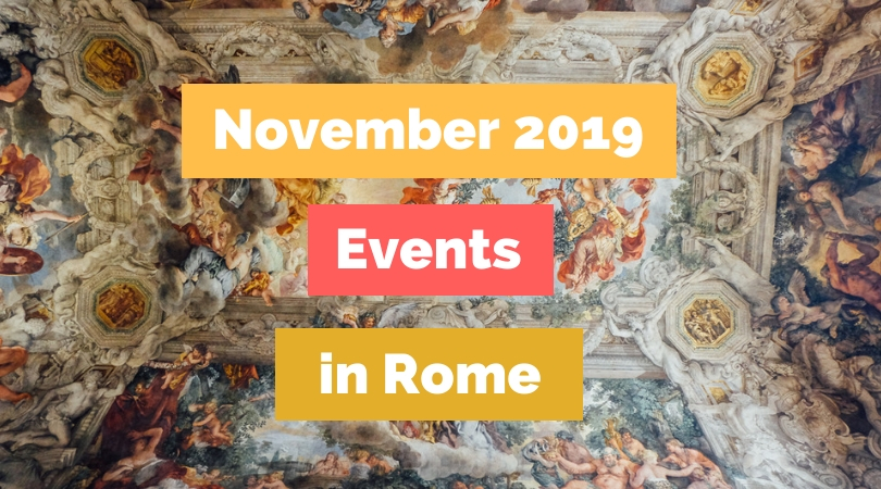Roman artwork with text november events in rome