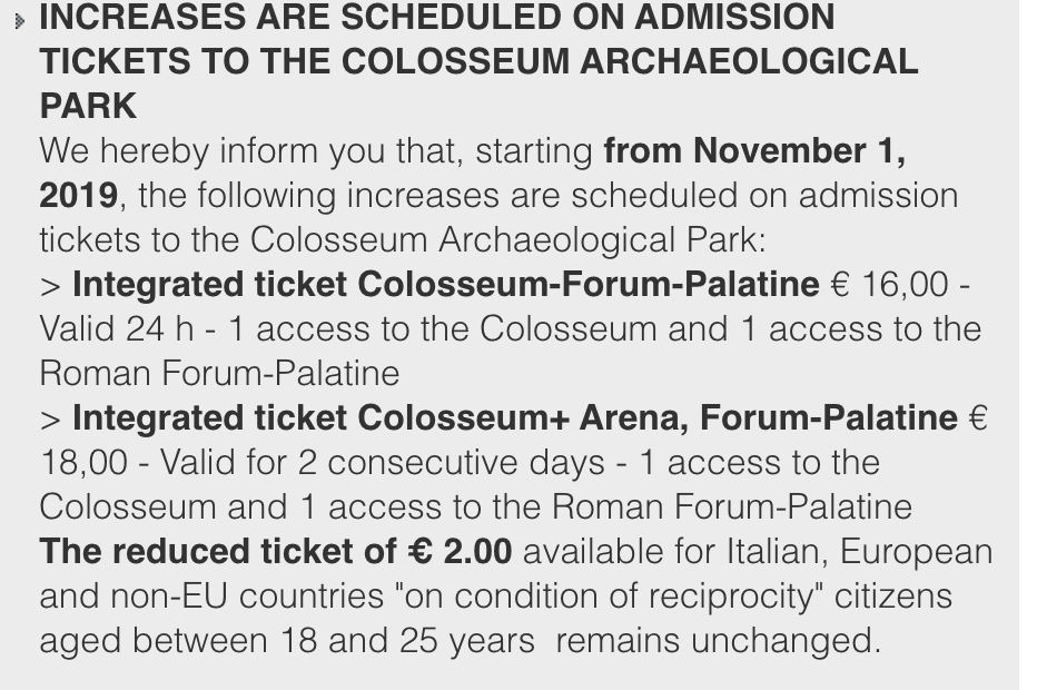 official colosseum ticket prices