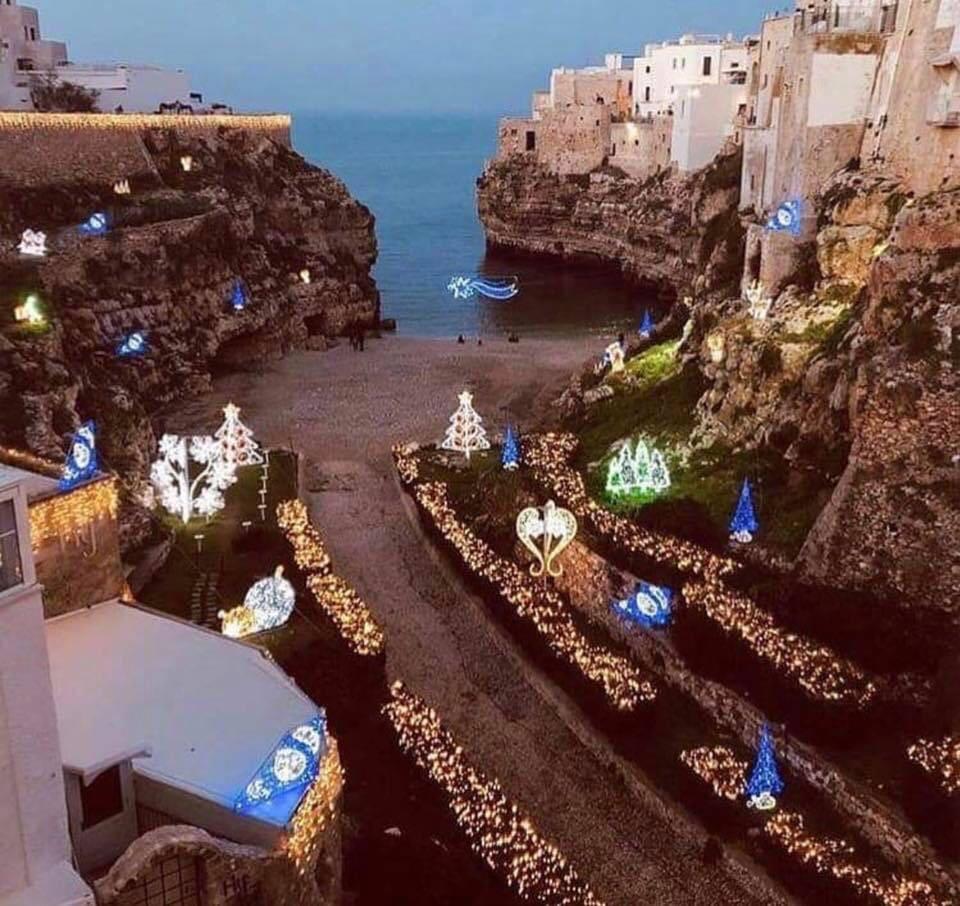 christmas lights on Italian beach