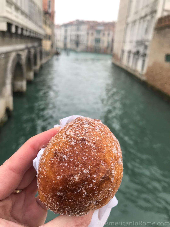 venetian frittelle against canal