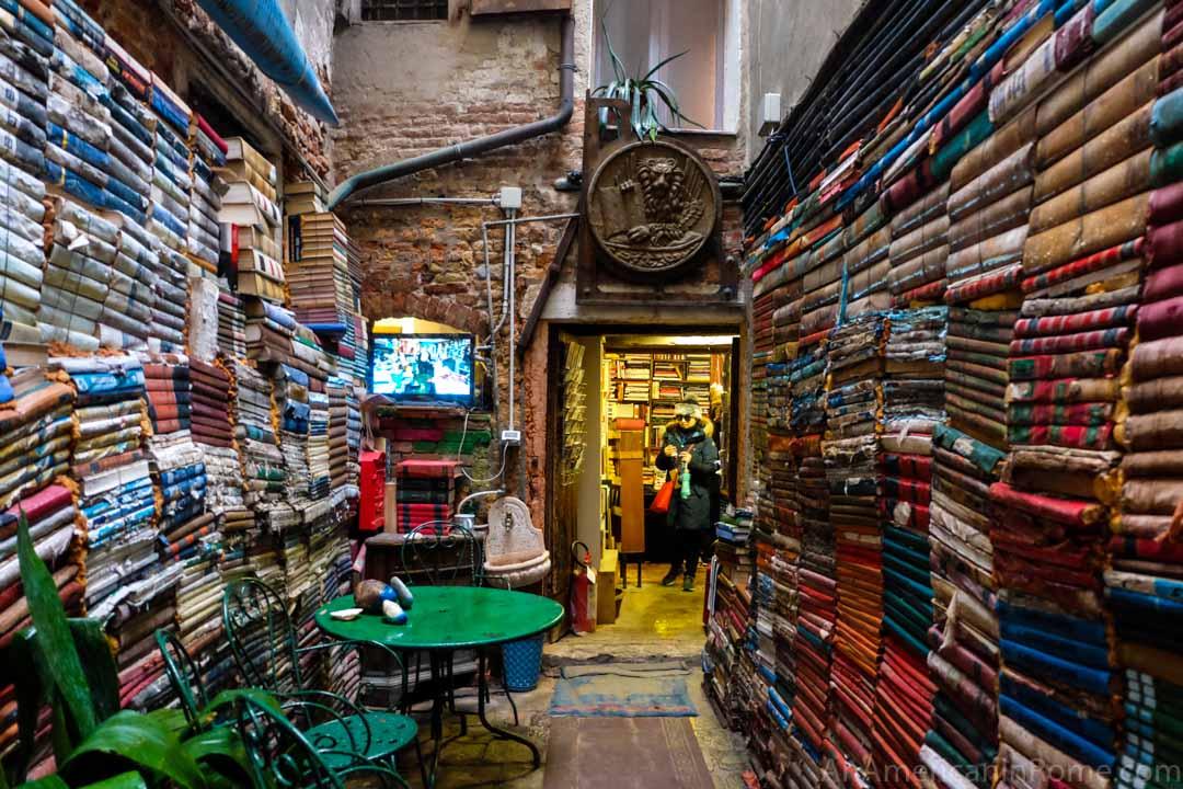 books in courtyard