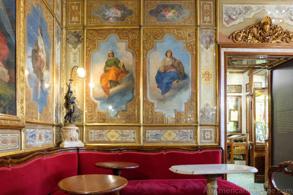 painted and gold interior of caffe florian in venice