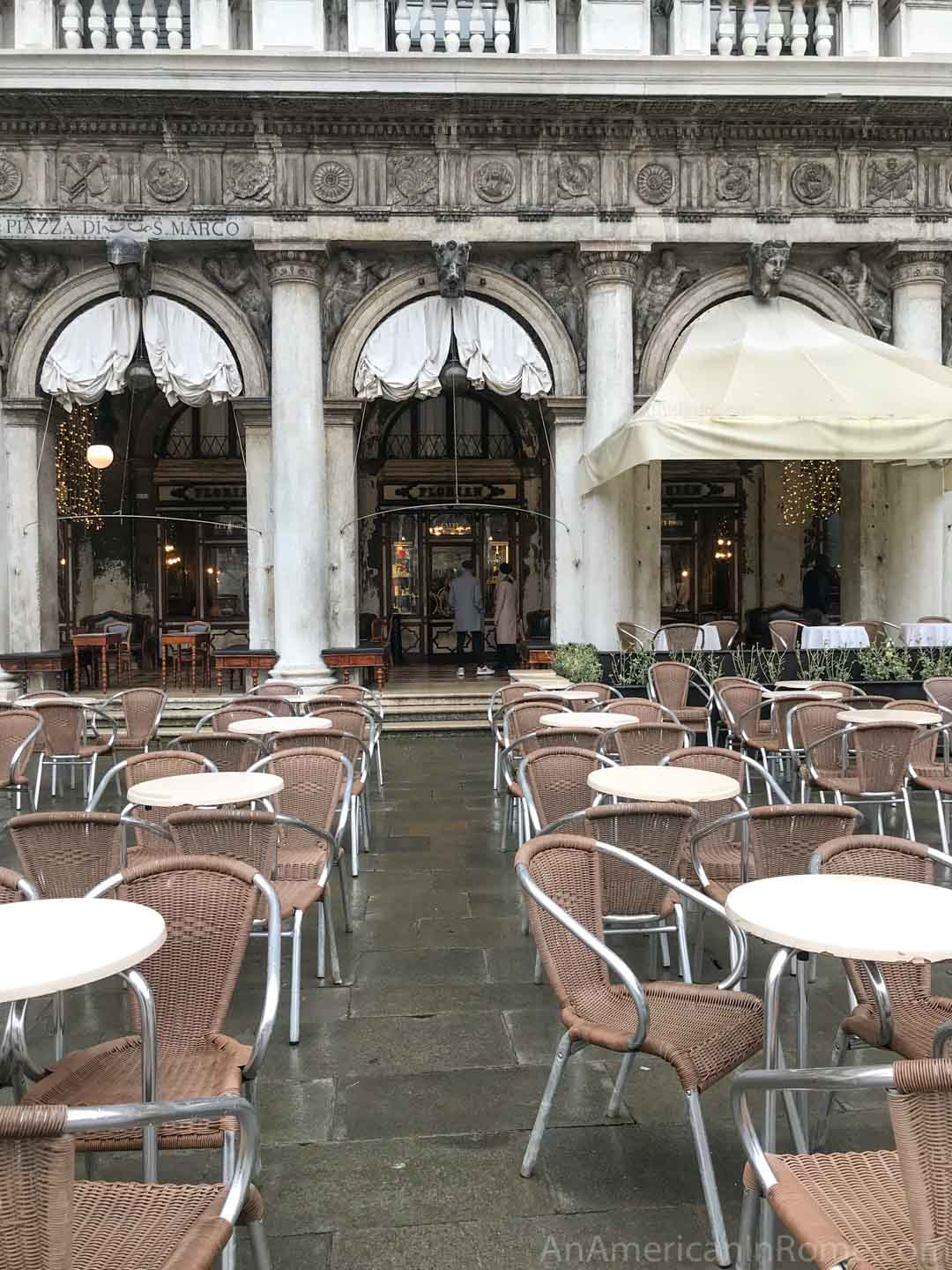 outdoor tables at Florians in Venice