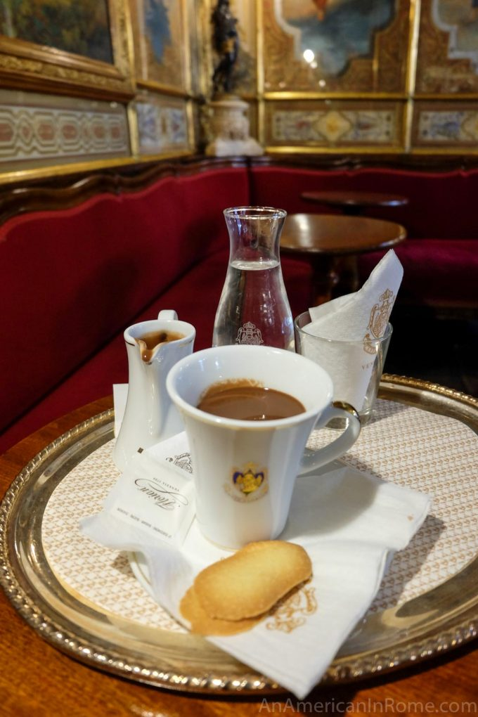 hot chocolate on a platter in Venice