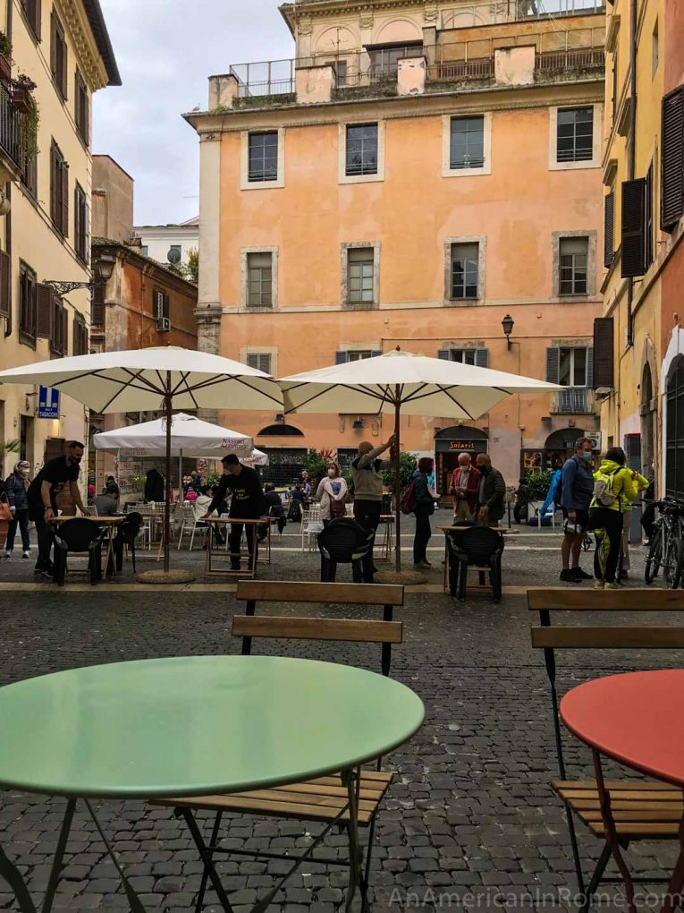outdoor tables in Rome