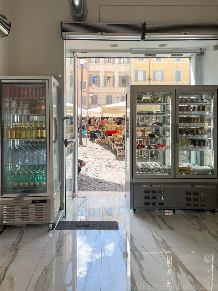 gelato shop with market outside the door